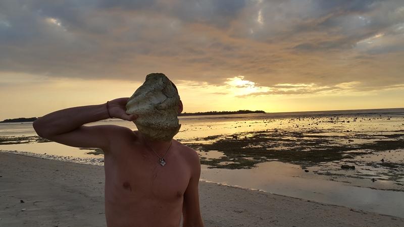 На пляже нашли ракушку.
